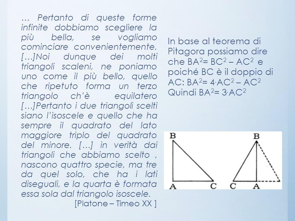 … Pertanto di queste forme infinite dobbiamo scegliere la più bella, se vogliamo cominciare convenientemente. […]Noi dunque dei molti triangoli scaleni, ne poniamo uno come il più bello, quello che ripetuto forma un terzo triangolo ch'è equilatero […]Pertanto i due triangoli scelti siano l'isoscele e quello che ha sempre il quadrato del lato maggiore triplo del quadrato del minore. […] in verità dai triangoli che abbiamo scelto , nascono quattro specie, ma tre da quel solo, che ha i lati diseguali, e la quarta è formata essa sola dal triangolo isoscele.